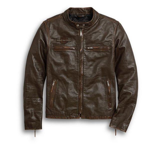 mens distressed print leather jacket