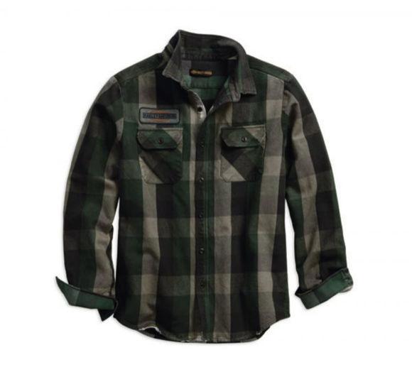 Front view of mens applique plaid slim fit shirt