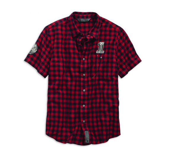 Front view of mens checkered plaid slim fit shirt