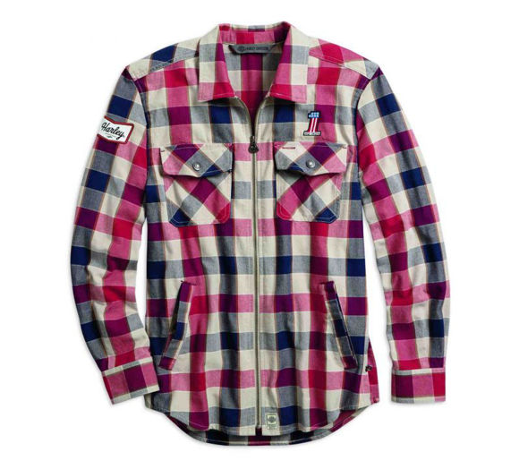 Front view of mens 1 plaid zippered slim fit shirt