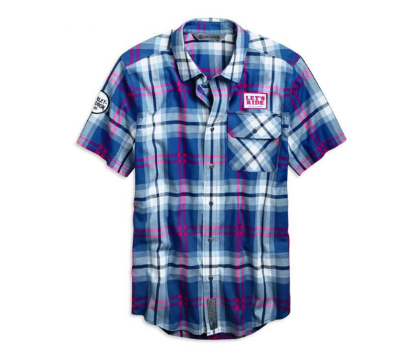 Front view of mens lets ride plaid slim fit shirt
