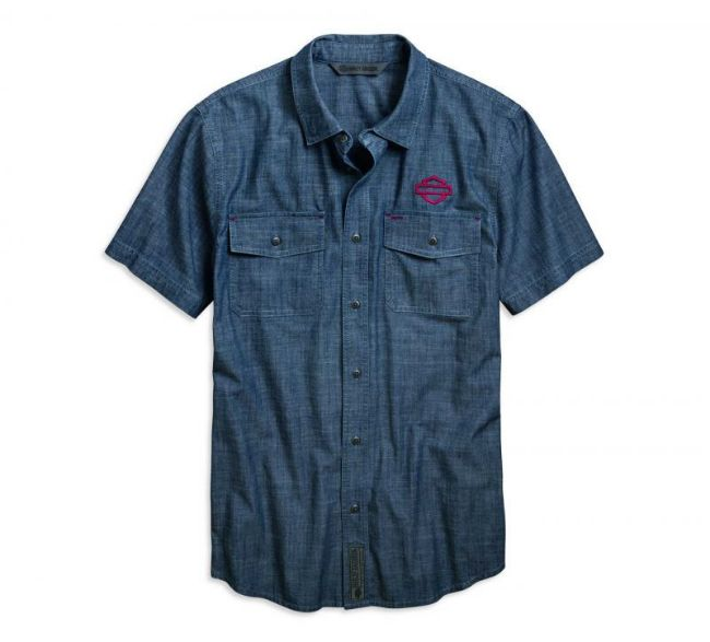 Front view of mens embroidered chambray slim fit shirt