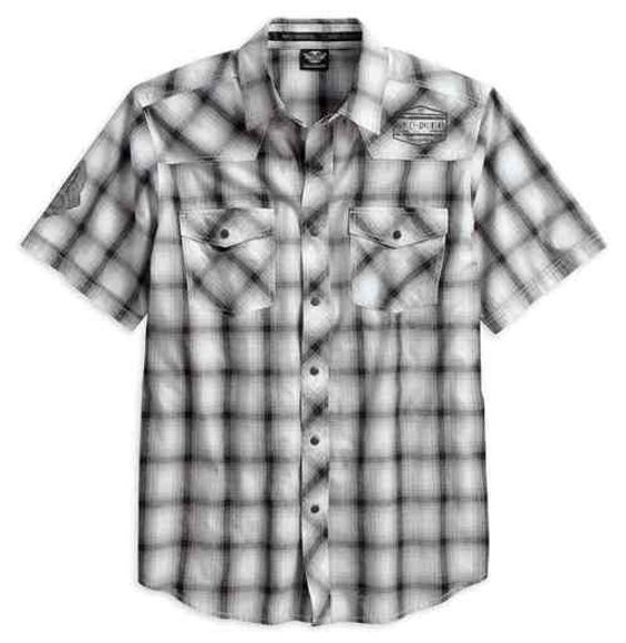 Front view of mens washed plaid short sleeve woven shirt
