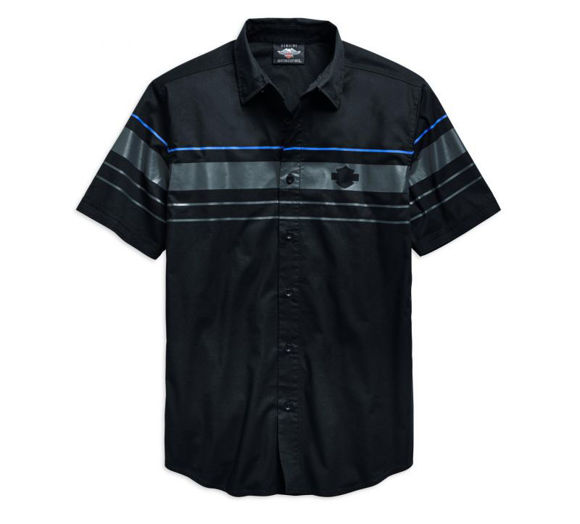 Front view of mens stripe logo short sleeve woven shirt