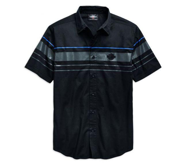 Front view of mens stripe logo short sleeve woven shirt