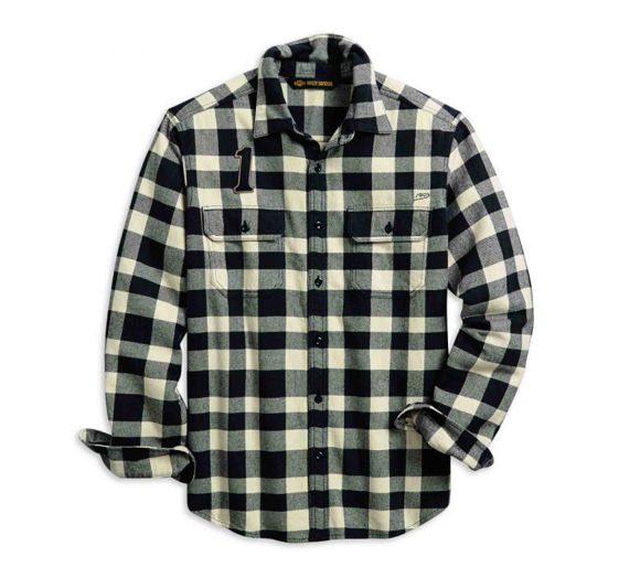Front view of mens buffalo check slim fit shirt