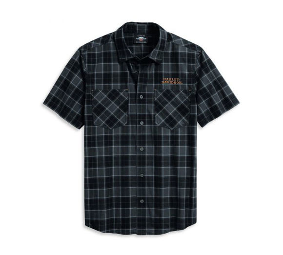 Front view of mens flaming skull patch plaid shirt
