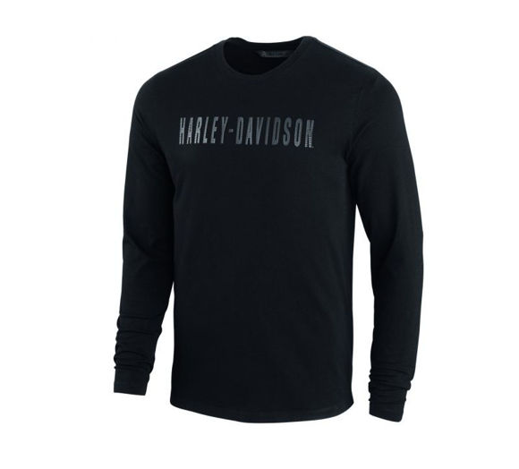 Front view of mens high density long sleeve print logo tee