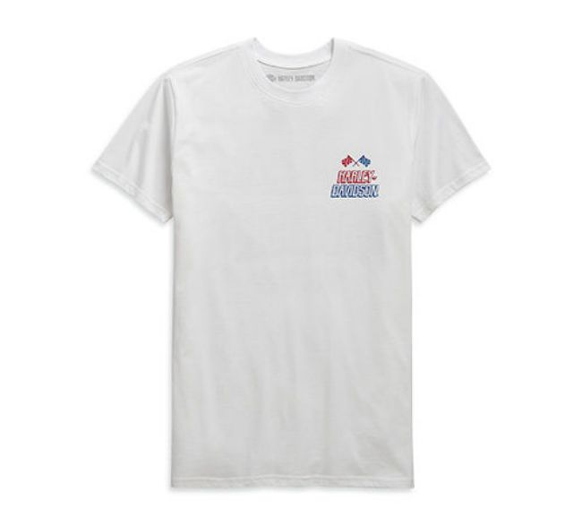 Front view of mens race flag slim fit short sleeve t shirt