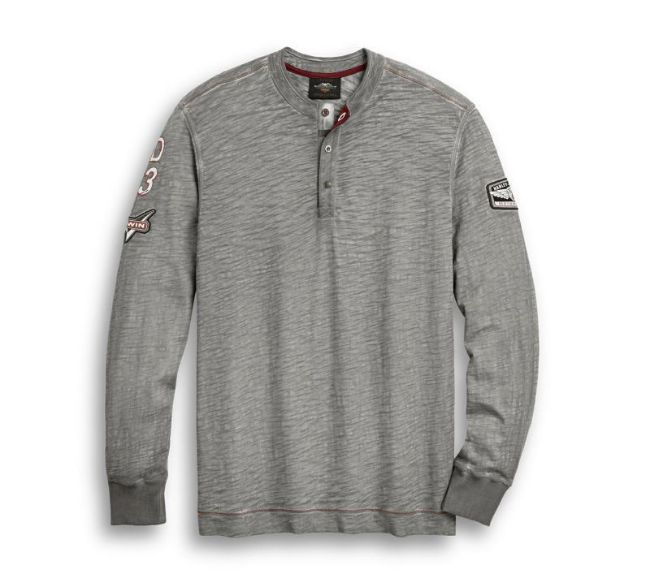Front view of mens hd 03 henley