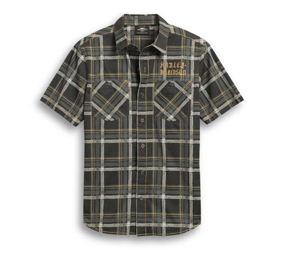 Front view of mens tire tread plaid shirt