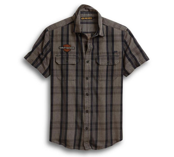 Front view of mens logo patch plaid shirt