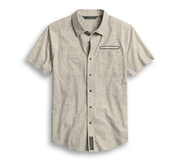 Front view of mens retro slim fit shirt