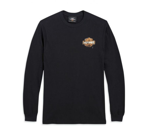 Front view of mens patina bar shield logo long sleeve tee