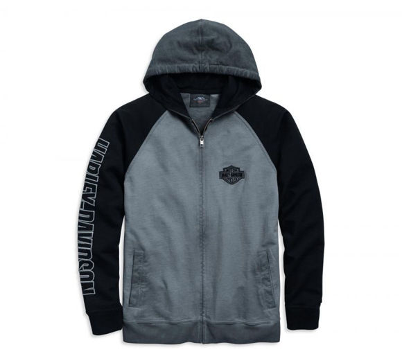 Front view of mens flag full zip hoodie
