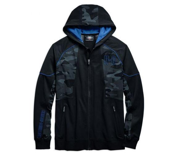 Front view of mens camo full zip hoodie