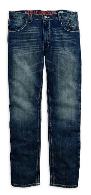 Front view of mens straight leg fit whipstitch modern jeans