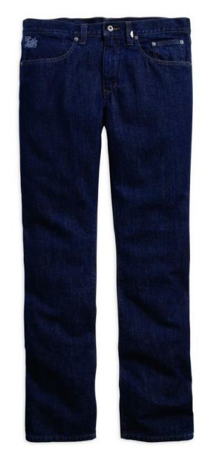 Front view of mens black label core straight leg fit dark blue jeans