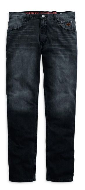 Front view of mens straight leg fit modern washed black jeans