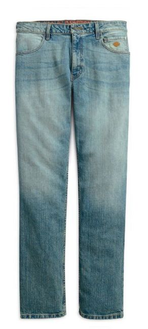 Front view of mens straight leg fit modern stretch jeans