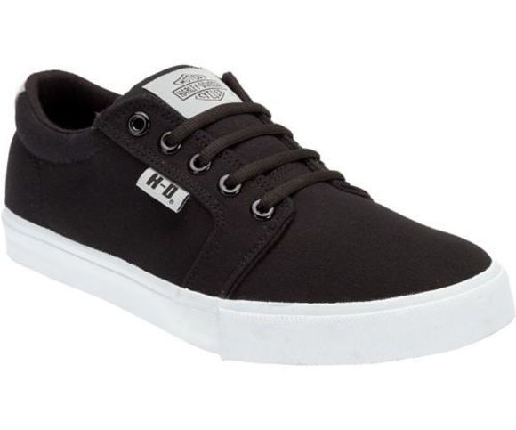 Front view of mens ellis black on white sneakers skate shoes