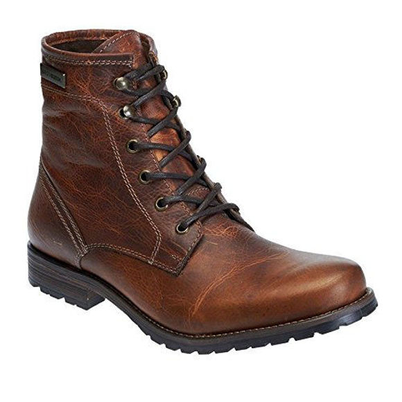 Front view of mens jutland brown leather boots