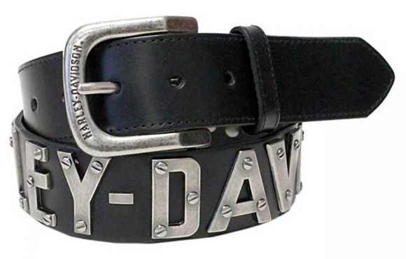 mens metal h d font leather belt