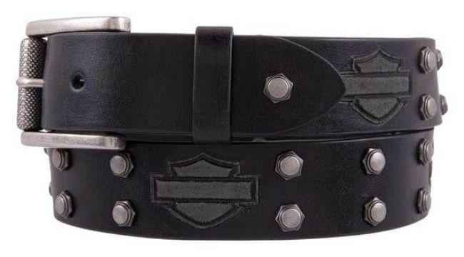mens bolt bar shield genuine leather belt