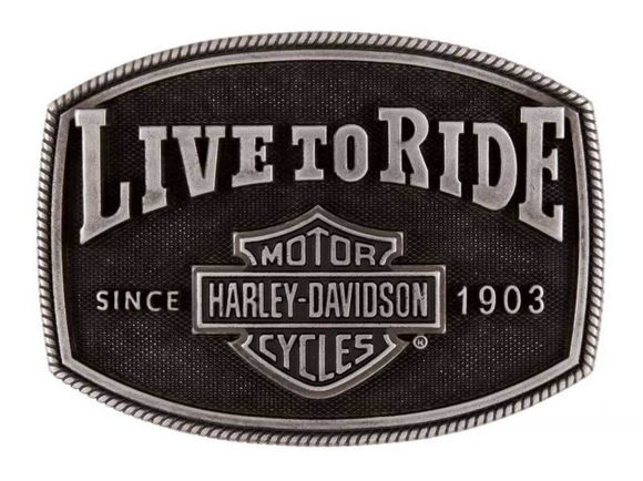 Buckle live to ride belt buckle