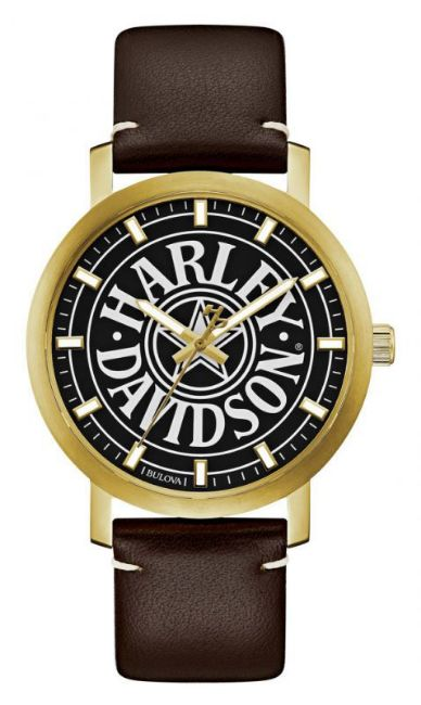 Front view of mens bulova iconic fat boy gold tone stainless steel watch