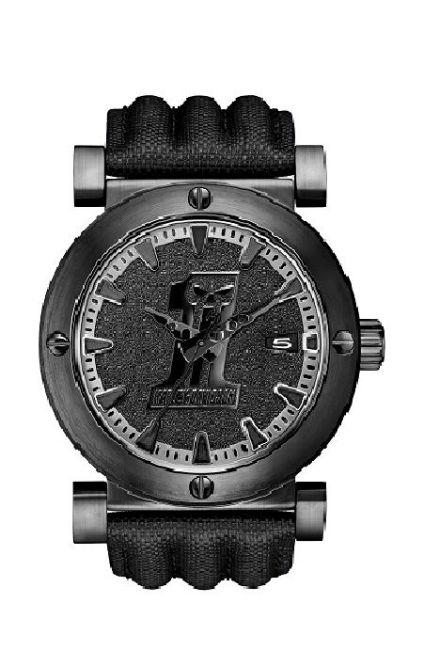 Front view of mens bulova black 1 racing skull wrist watch