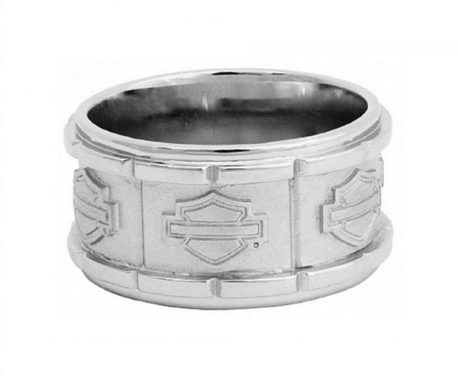 mens raised silver bar shield ring