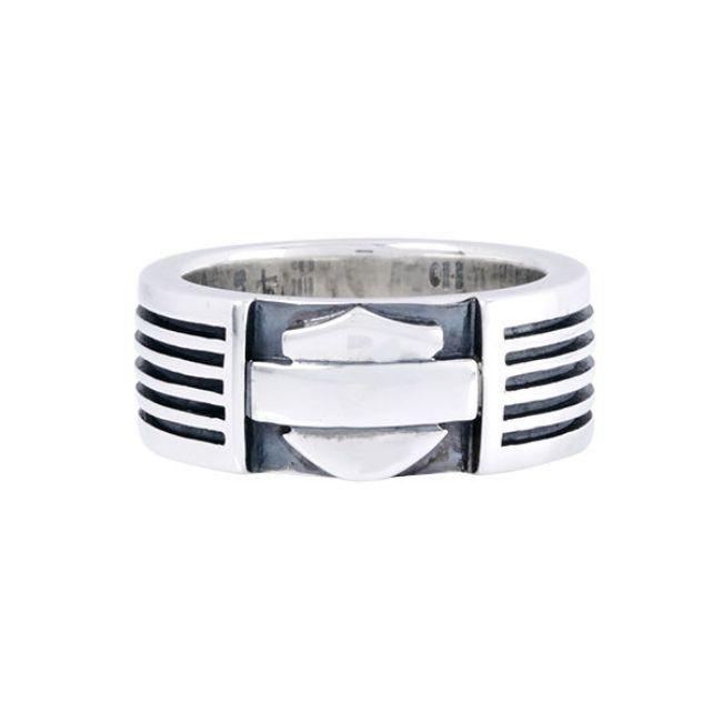 mens silver bar shield ring