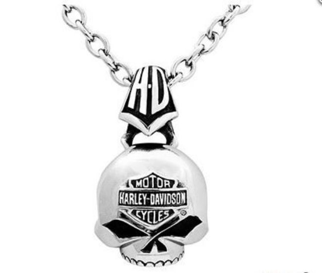 Necklace mens steel skull necklace