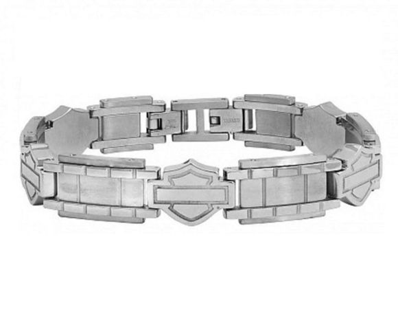 Bracelet mens stainless steel bar shield chain bracelet