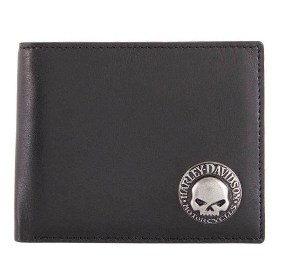 Wallet mens skull concho bifold wallet