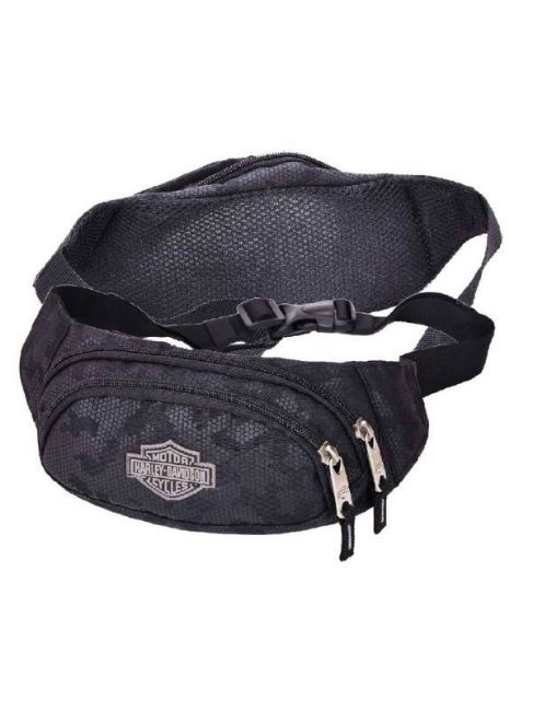 Front view of nightvision bar shield zippered adjustable hip pack