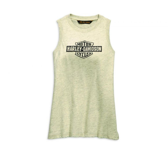 Front view of womens white distressed logo tank