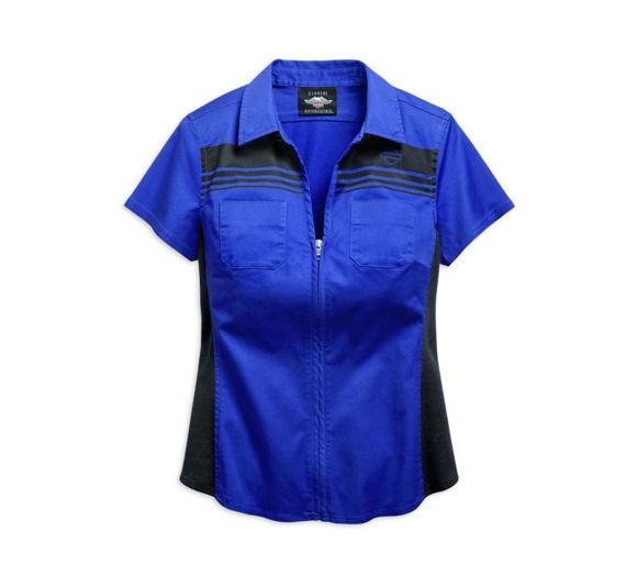 womens zip front chest striped shirt