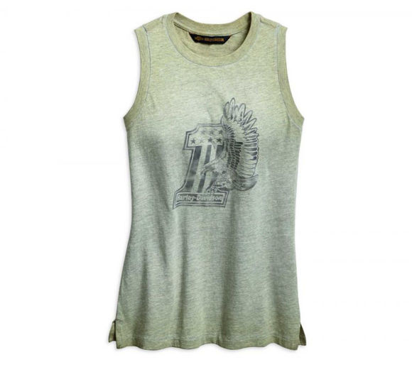 Front view of womens 1 eagle muscle tee