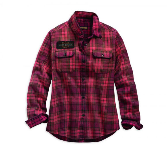 Front view of womens laser cut logo plaid shirt