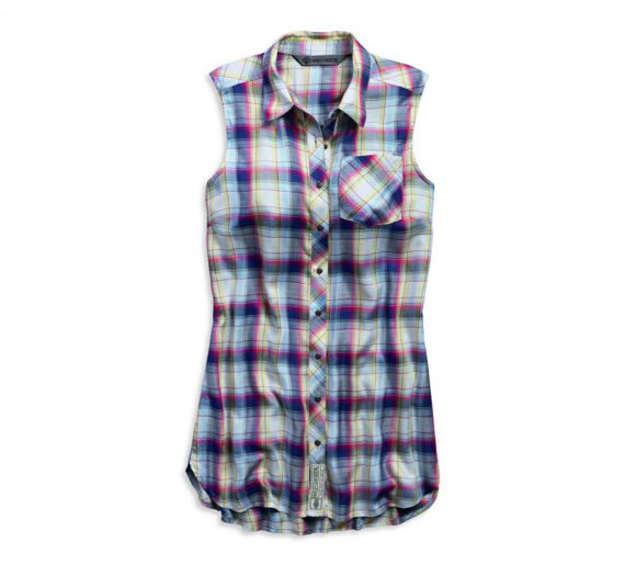 Front view of womens plaid sleeveless shirt