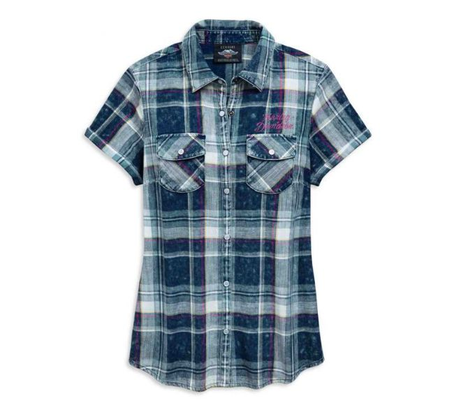 Front view of womens eagle plaid shirt