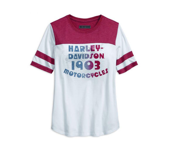 Front view of womens retro varsity tee