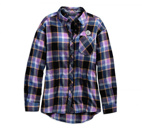 Front view of womens winged cycle plaid shirt