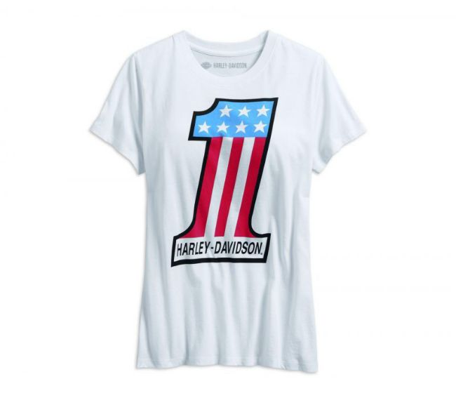 Front view of womens retro 1 tee