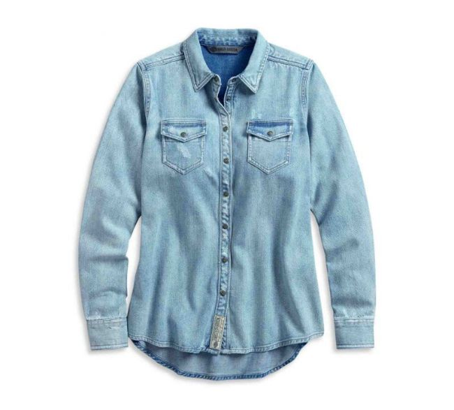 Front view of womens born for speed denim shirt