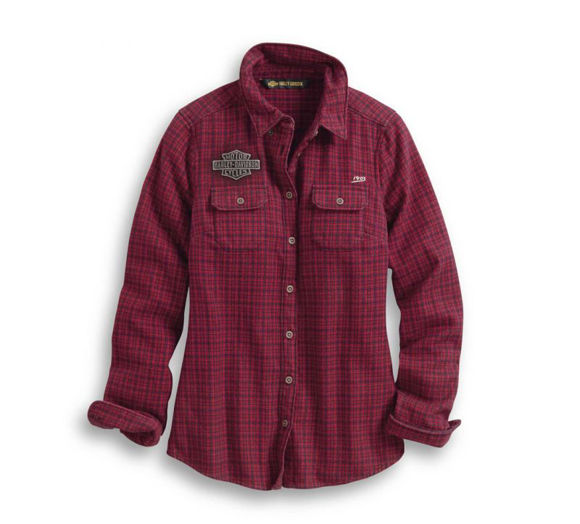Front view of womens studded plaid shirt