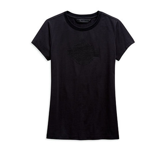 Front view of womens black studded logo tee