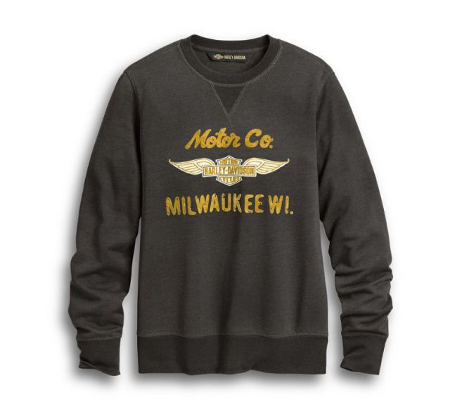 Front view of womens winged logo motor co pullover sweatshirt